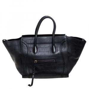 Celine Black Croc Embossed Leather Medium Phantom Luggage Tote
