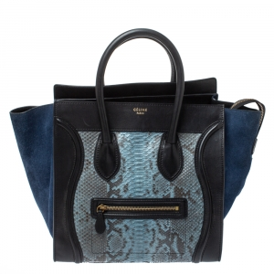 Celine Blue/Black Python, Suede and Leather Mini Luggage Tote