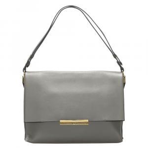 Celine Grey Leather Blade Flap Bag