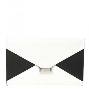 Celine White/Black Leather Diamond Clutch