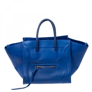 Celine Blue Leather Medium Phantom Luggage Tote