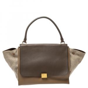 Celine Tricolor Leather and Canvas Large Trapeze Bag