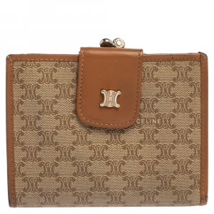 Celine Beige/Tan Macadam Coated Canvas and Leather Wallet