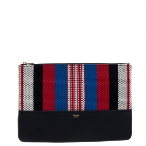 Celine Multicolor Woven Canvas and Leather Solo Clutch