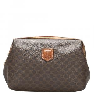 Celine Brown Macadam Canvas Clutch Bag