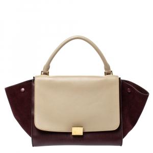 Celine Burgundy/Beige Leather and Suede Medium Trapeze Bag