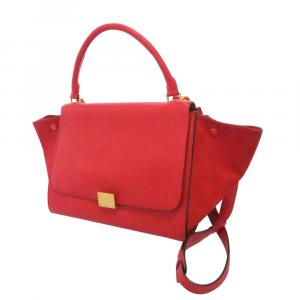 Celine Red Leather Trapeze Satchel bag
