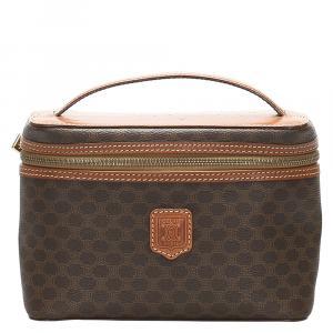 Celine Brown/Dark Brown Macadam Canvas Vanity Bag