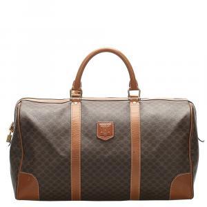 Celine Beige/Brown Coated Canvas Macadam Travel Bag