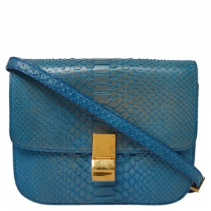 Celine Blue Python Medium Classic Box Shoulder Bag