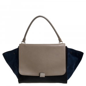Celine Tricolor Leather and Suede Large Trapeze Bag