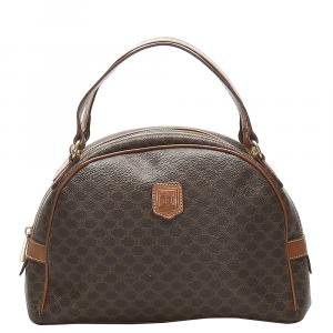 Celine Brown Macadam Canvas Satchel
