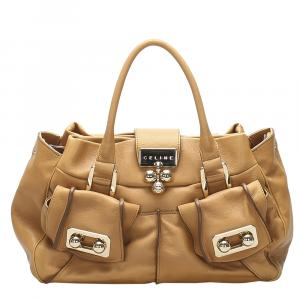 Celine Brown Smooth Leather Satchel Bag