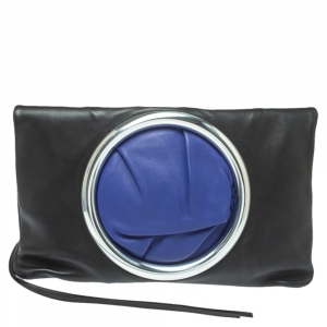 Celine Black Leather Eyelet Fold Over Clutch