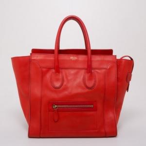 Celine Vermillion Red Buffalo Leather Mini Luggage Tote