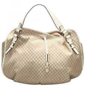 Celine Brown Macadam Coated Canvas Hobo Bag