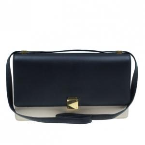 Celine Black and White Calfskin Medium Case Flap Bag