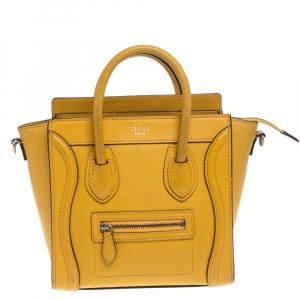 Celine Mustard Leather Nano Luggage Tote
