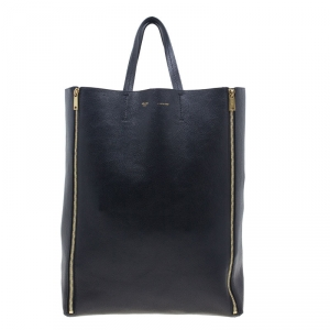 Celine Black Leather Vertical Zipper Gusset Cabas Tote