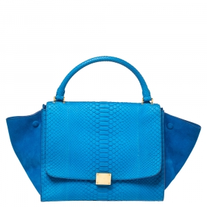 Celine Blue Python and Suede Medium Trapeze Bag