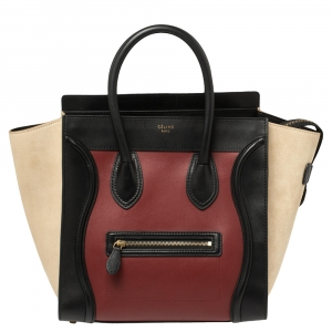 Celine Multicolor Leather and Suede Mini Luggage Tote