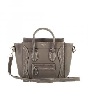 Celine Brown Leather Nano Luggage Bag