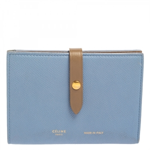 Celine Blue/Brown Leather Multifunction Strap Wallet