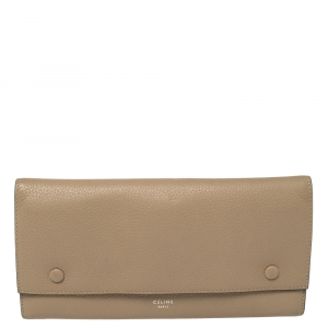 Celine Beige Leather Large Multifunction Flap Wallet