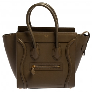 Céline Dark Olive Green Leather Micro Luggage Tote
