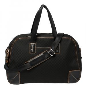 Celine Black Macadam Nylon and Leather Travel Bag