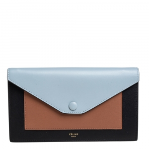 Celine Tri Color Leather Large Pocket Flap Clutch