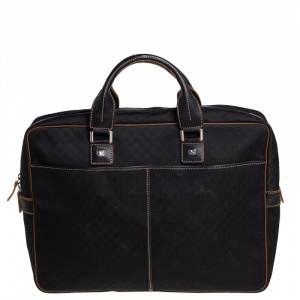 Celine Black Macadam Pattern Canvas Document Briefcase