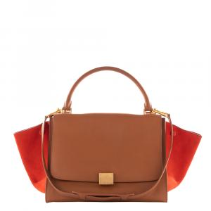 Celine Brown/Orange Leather And Suede Medium Trapeze Bag