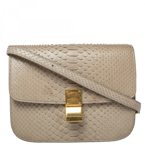 Celine Beige Python Medium Classic Box Shoulder Bag