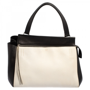 Celine Black/White Leather Medium Edge Top Handle Bag