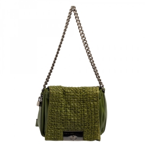Celine Green Leather Watch Me Flap Shoulder Bag