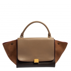 Celine Tri Color Leather and Nubuck Medium Trapeze Bag
