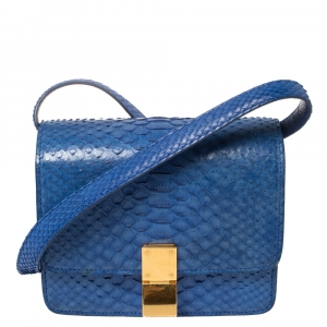 Celine Blue Python Small Classic Box Shoulder Bag