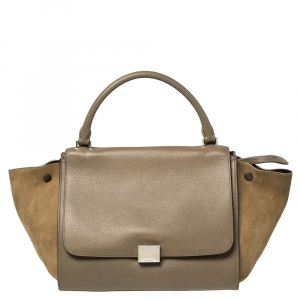 Celine Khaki Green Leather and Suede Medium Trapeze Top Handle Bag