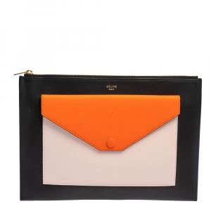 Celine Tri Color Leather Pocket Envelope Clutch