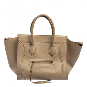 Celine Beige Leather Medium Phantom Luggage Tote