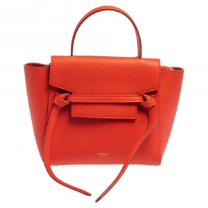 Celine Red Leather Nano Belt Top Handle Bag