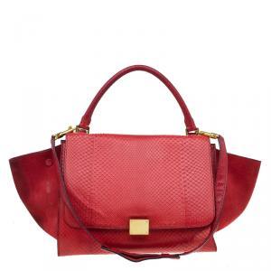 حقيبة سيلين ترابيز جلد ثعبان أحمر وسويدي متوسطة