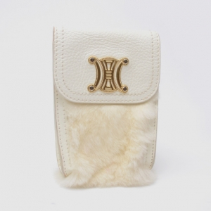 Celine White Mini Fur and Leather Pochette