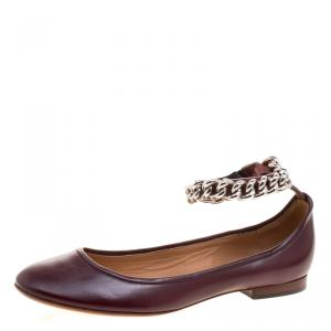 Celine Chocolate Brown Leather Chain Strap Ballet Flats Size 39