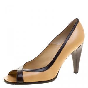 حذاء كعب عالي سيلين مقدمة مفتوحة جلد لونين مقاس 37.5