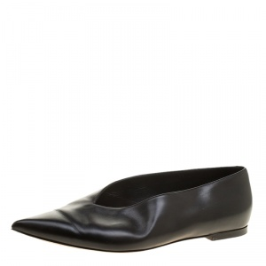 Celine Black Leather Pointed Toe Flats Size 37