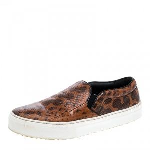 Celine Orange And Black Watersnake Leather Skate Slip On Sneakers Size 38.5