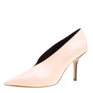 حذاء كعب عالي سيلين مقدمة مدببة رقبة V جلد وردي فاتح مقاس 37.5