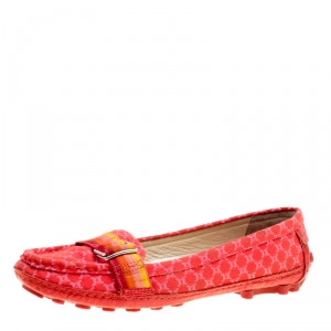 Celine Red Jacquard Fabric Macadam Loafers Size 40.5